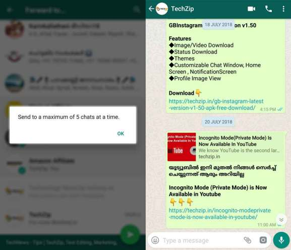 Whatsapp forward limit feature live in india techzip now onwards a user can only forward one message up to five users or five groups whatsapp also removes the forward button on the right side of a message ccuart Image collections
