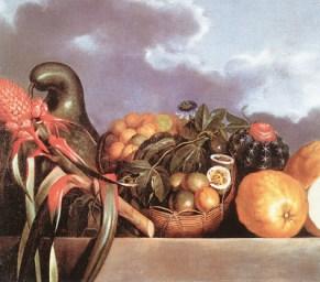 Albert Eckhout (c. 1610- c. 1666) Natureza-morta ou Cabaça, Frutas e Cactus, s/d. Óleo sobre tela, 94 x 94 cm. Acervo Nationalmuseet, Copenhague- Dinamarca