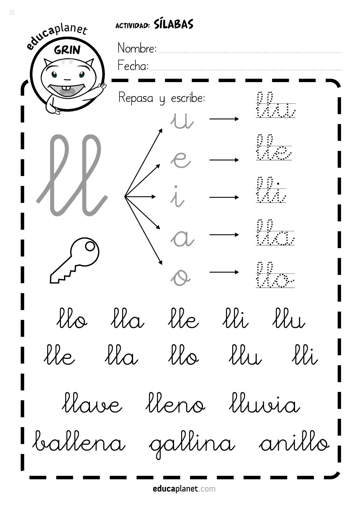 Lla Lle Lli Llo Llu Silabas Iniciales By Lectura Para