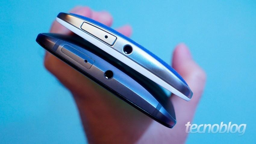 Moto X Style (abaixo) e Moto X Play (acima): a diferença do plástico para o metal
