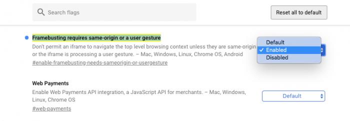 Chrome Flags Framebusting