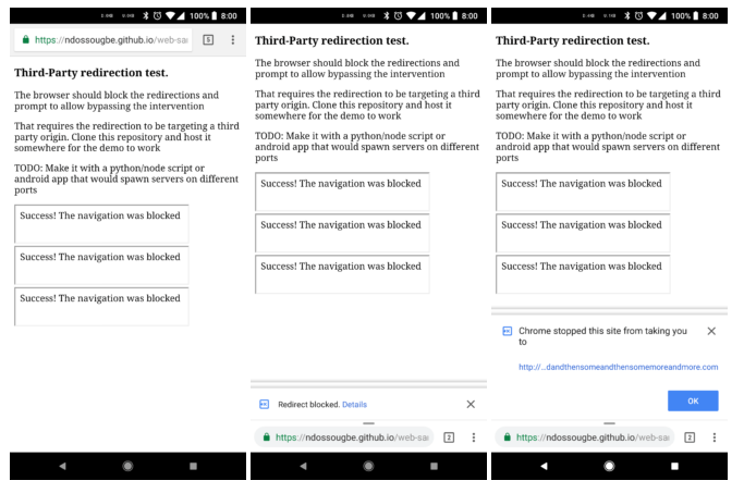Redirects e InfoBars no Chrome do Android
