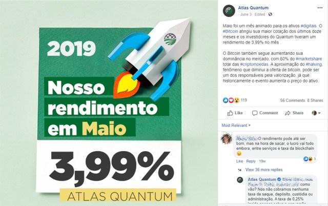 Atlas Quantum: rendimento de 3,99% em maio de 2019