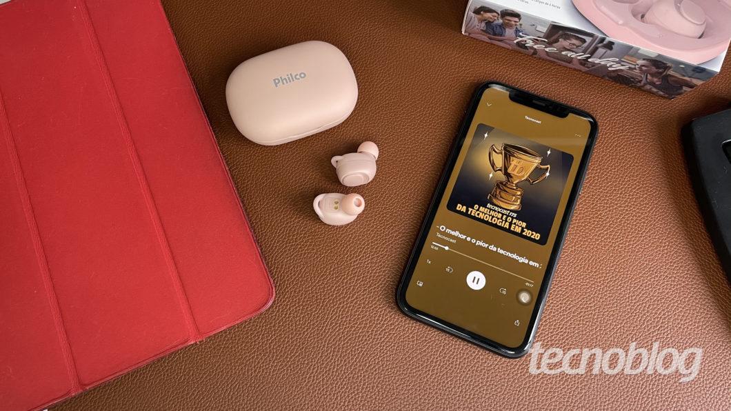 Fone Bluetooth Philco Air Beats (Imagem: Darlan Helder/Tecnoblog)