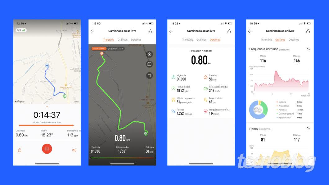 GPS do Huawei Watch Fit (Imagem: Darlan Helder/Tecnoblog)