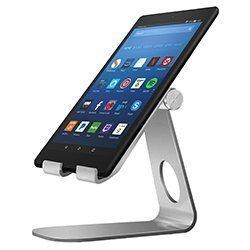 MoKo Soporte para Kindle Fire Tablet/E-Reader,Titular de Aluminio Giratorio de ángulo múltiple de 210°para New Kindle 10th Gen 2019/Kindle Fire 7 2017/ HD8 2017/ HD10 2017, Plata