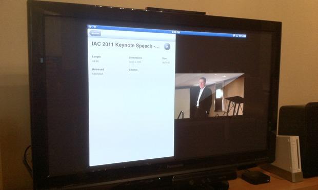 iPad preparando para reflejar vídeo al Apple TV