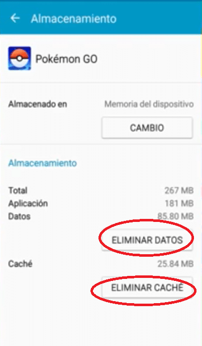 pokemon go eliminar caché datos