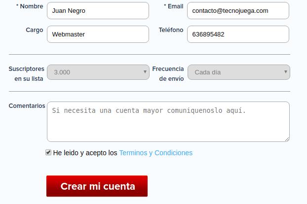 cuenta registrada