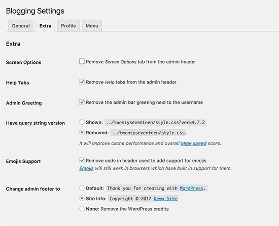 Extra settings to disable on non-blogging site