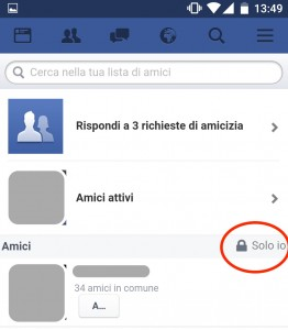 facebook privacy lista amici