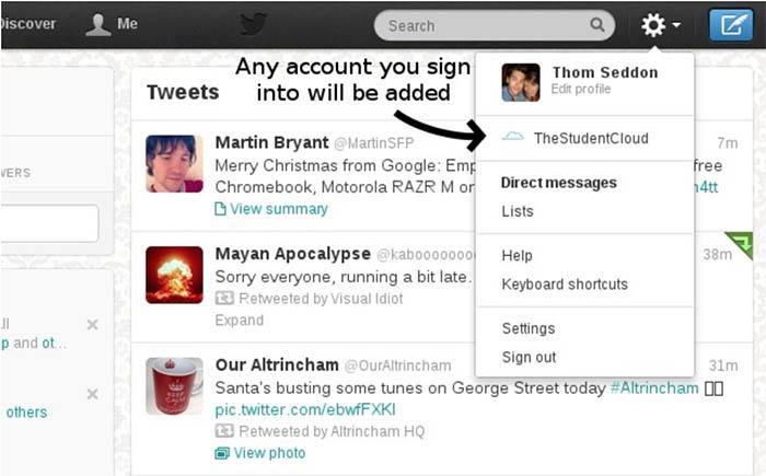 Extensión de Chrome para cambiar entre varias cuentas de Twitter