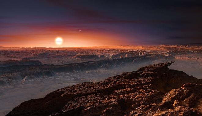 Ilustración de la superficie del planeta Próxima b con la estrella Próxima Centauri al fondo, donde también se observa muy pequeña la estrella doble Alfa Centauri. / ESO/M. Kornmesser
