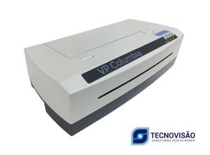 Foto lateral da impressora mostrando a marca e os botões