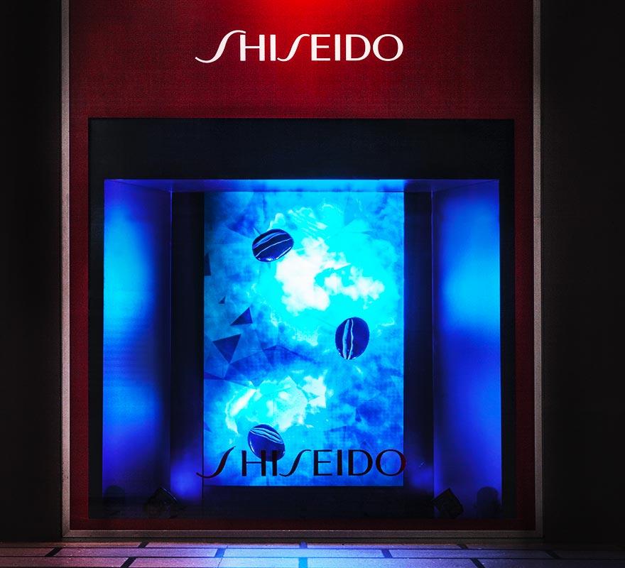 Fondale led vetrinistica digitale vetrinaggio Rinascente Shiseido