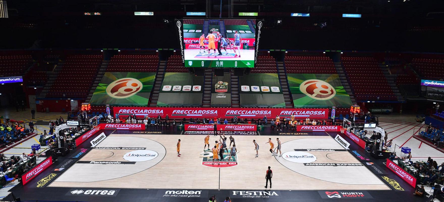 Armani Olimpia banner led bordocampo cubo ledwall segnapunti scoreboard pallacanestro basket Forum Assago