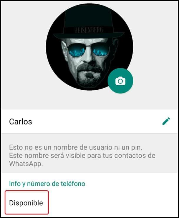 info y número de perfil de WhatsApp