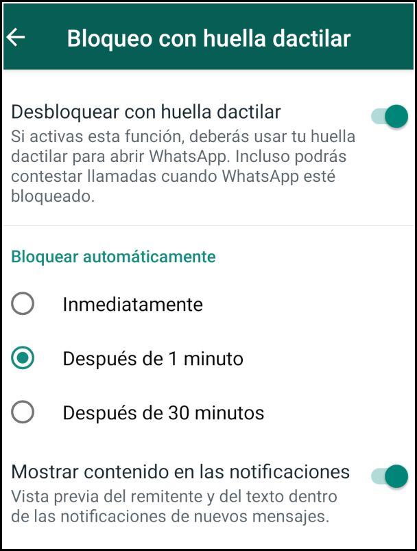 bloqueo WhatsApp con huella dactilar