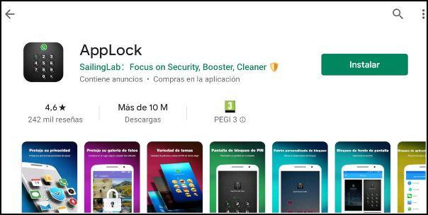 descargar applock desde Google Play Store