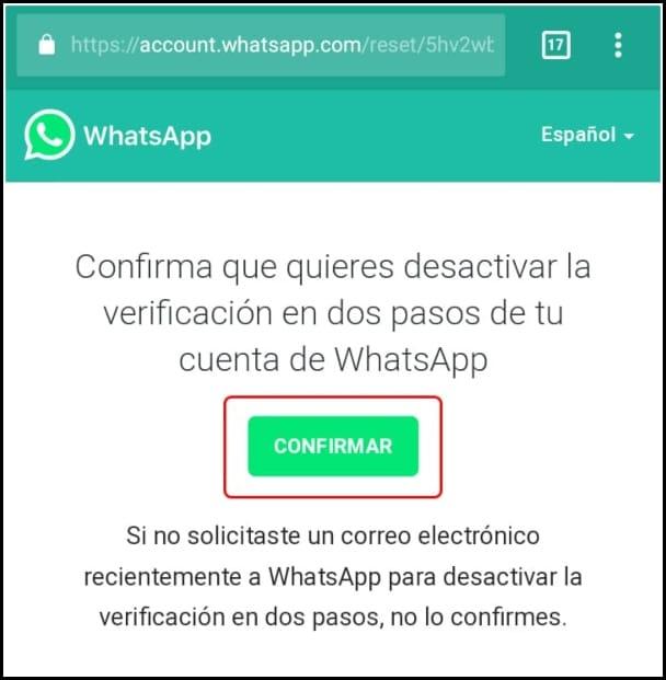 desactivar verificación en dos pasos