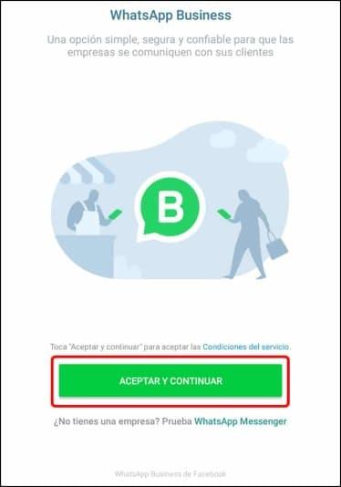 aceptar condiciones WhatsApp Business