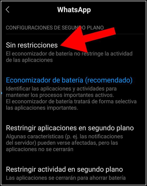 configuración en segundo plano para WhatsApp