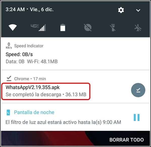 Abrir el APK para instalar WhatsApp