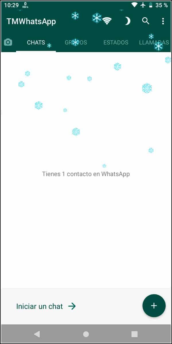 Efecto de nieve WhatsApp