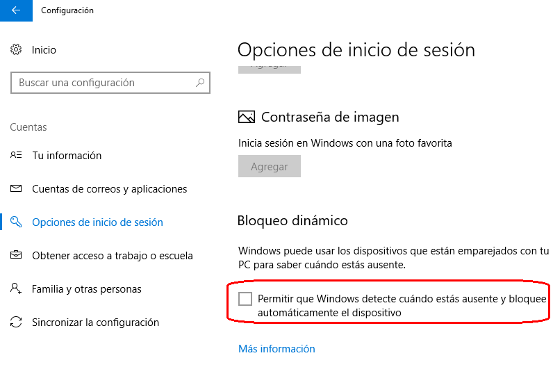 bloqueo dinámico en Windows 10 Creators Update