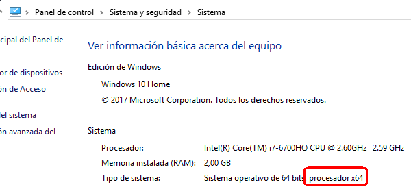 información del sistema de 64 bits Windows 10