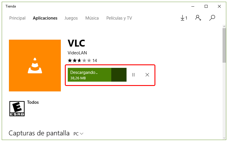 aplicación VLC en Windows 10
