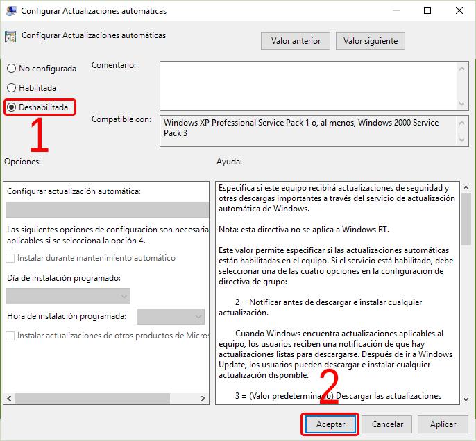 Cómo desactivar las actualizaciones de Windows 10 5