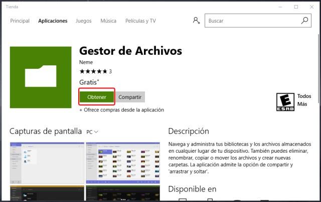 Exploradores de archivos en la tienda de Windows