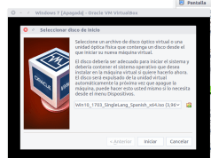 iniciar máquina virtual seleccionando Windows 7