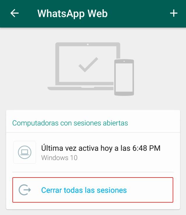 Cerrar sesión de WhatsApp