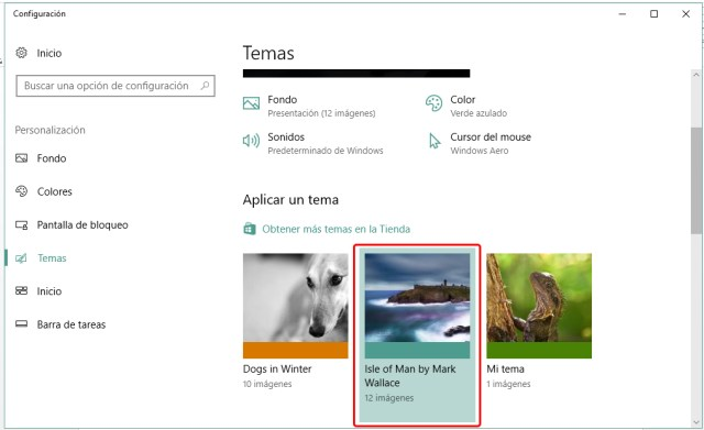 Instalar un tema en Windows 10