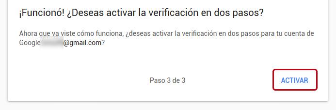 Activar verificación en dos pasos en Gmail