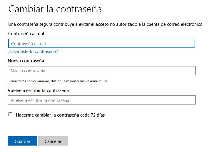 Cómo cambiar la contraseña de Outlook en Windows