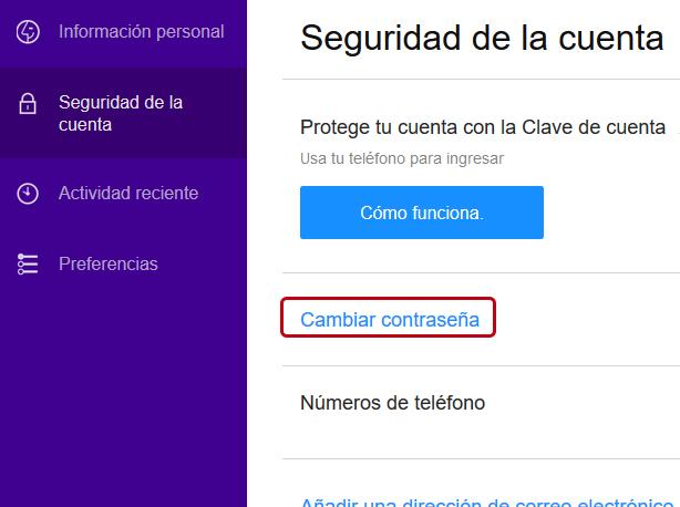 Cómo cambiar la contraseña de Yahoo Mail en Windows