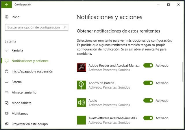 Cómo configurar notificaciones y avisos en Windows 10