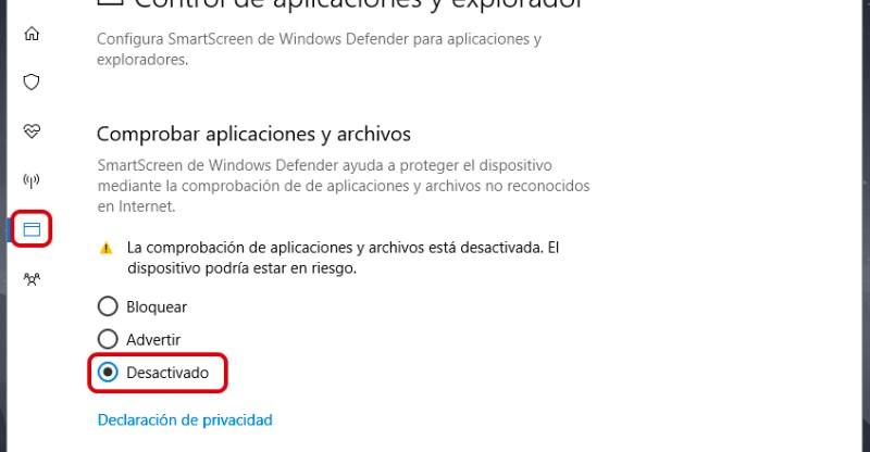 Cómo desactivar Windows SmartScreen en Windows 10