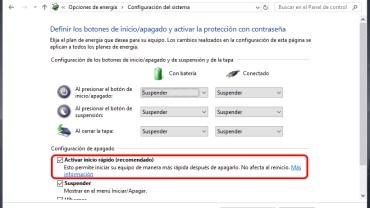 Activar inicio rápido de Windows 10