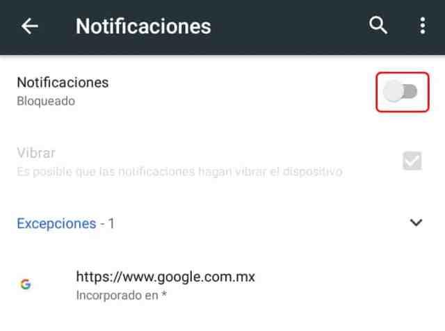 Cómo desactivar las notificaciones en Google Chrome Android