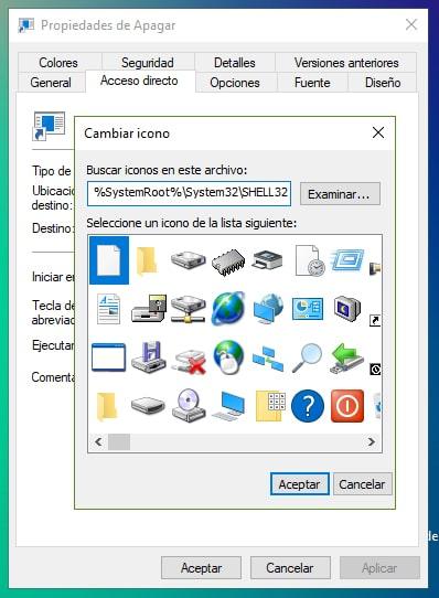 Cambiar icono al acceso directo de apagar