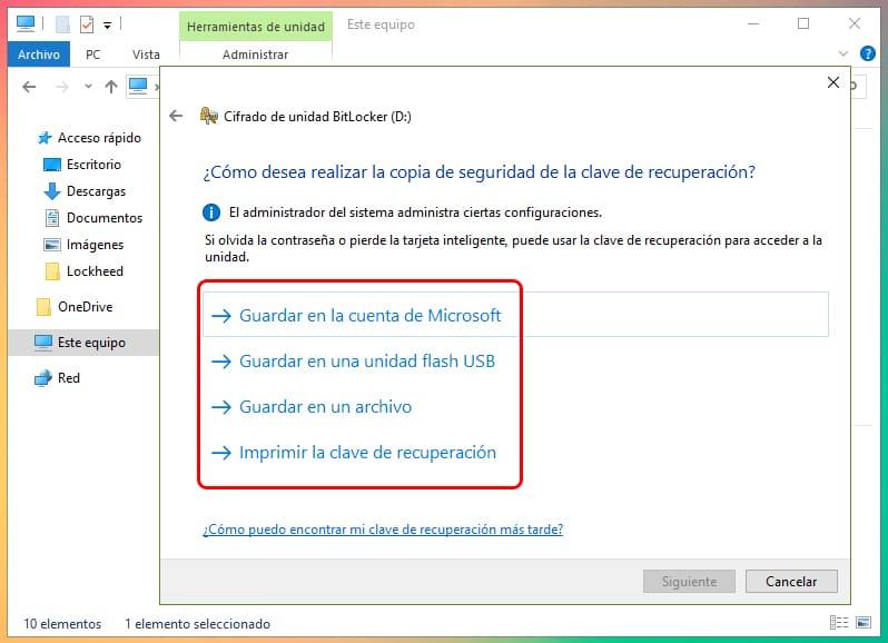 Cómo encriptar una partición en Windows 10