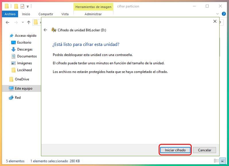 Cómo encriptar una partición en Windows 10 3