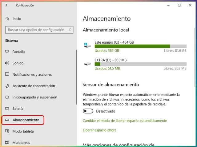 Cómo liberar espacio tras actualizar Windows 10