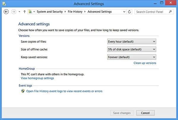 historial de archivos en Windows 10