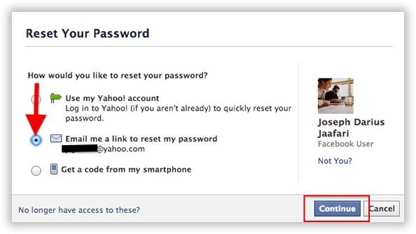 Facebook password reset
