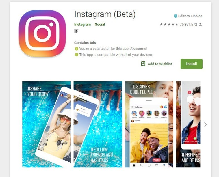 Instagram App on play Store